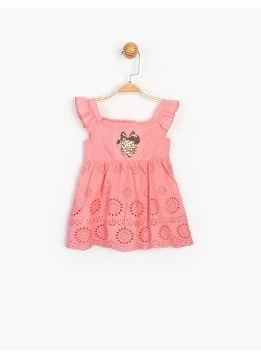 Minnie Mouse  Bebek Pul Detyalı Elbise 15492 Pembe